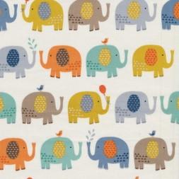 Afklip Patchwork stof med elefanter i off-white, carry og grå 50 x 55 cm.-20