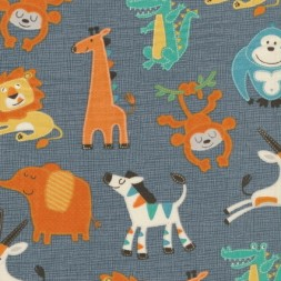 Patchwork stof i grå med elefant, giraf og abe-20