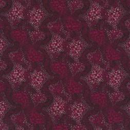 Patchwork stof bordeaux med mønster i prikker-20