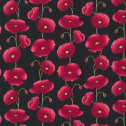 patchwork stof sort med valmuer