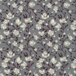 Bomulds-poplin med blomster grå hvid aubergine-20