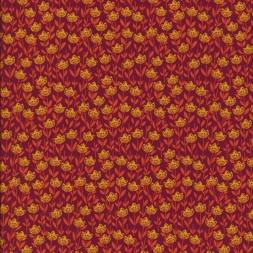 Patchwork stof med blomster mørk rød orange gul-20