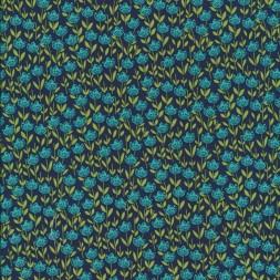Patchwork stof med blomster mørkeblå petrol lime-20