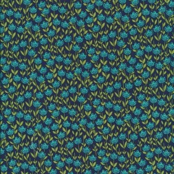 Afklip Patchwork stof med blomster mørkeblå petrol lime 50x55 cm.-20
