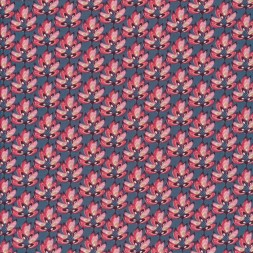 Afklip Patchwork stof i petrol-blå med lyserøde blade 50x55 cm.-20