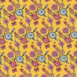 Afklip Patchwork stof i lys gul med blomster 50x55 cm.-20