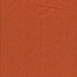 Patchwork stof i orange med små blade-20