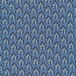 Patchwork stof med blade i denim, hvid og mørkeblå-20