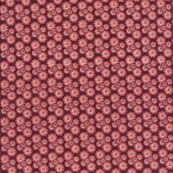 Afklip Patchwork stof med små blomster i brun støvet koral og hvid 50x55 cm.-20