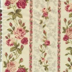 Afklip Patchwork stof creme med roser i striber 50x55 cm.-20