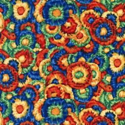 Patchwork stof med blomster i orange, blå og gul-20