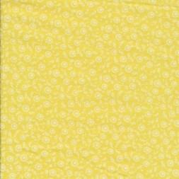 Patchwork stof i citron gul med blomster-20