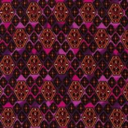 Afklip Patchwork stof i cerisse og pink med rudemønster 50x55cm-20