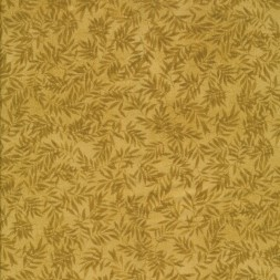 Patchwork stof i gylden med blade-20