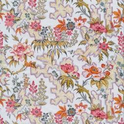 Afklip Patchwork stof i hvid med blomster i rosa, støvet gul, orange 50x55 cm.-20
