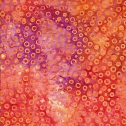 Afklip Patchworkstof batik med cirkler i orange 50x55 cm.-20