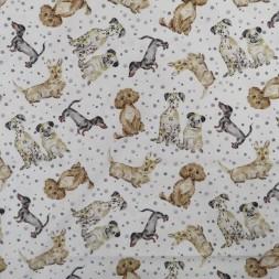 Patchwork stof i knækket hvid med hunde-20