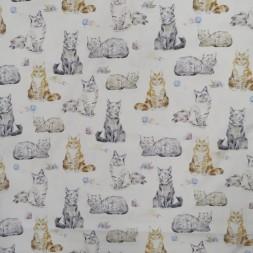 Patchwork stof i knækket hvid med katte-20