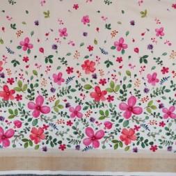 Patchwork stof med blomster i bort i offwhite-20