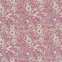 Bomulds-poplin med blomster rosa off-white lime-20