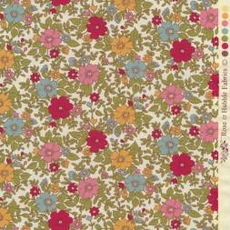 Bomulds-poplin i offwhite med blomster i aqua, hindbær, carry-20