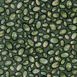 Afklip Patchwork stof m cirkler, grøn army gul , 50x55 cm.-20