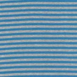 50 cm. Stribet rib meleret lysegrå/turkis-blå-20