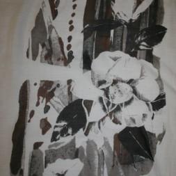 Bomuld/silke-voil m/blomster-motiv, hvid/brun/grå-20