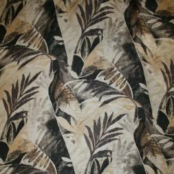 Bomuld/Silke-chiffon med palmeblade beige brun-20
