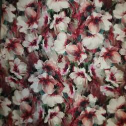 Bomuldssatin med stræk i digitalprint blomstret pink rosa hvid-20