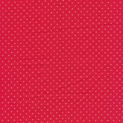 Skjorte poplin med stræk, rød med hvide små prikker-20