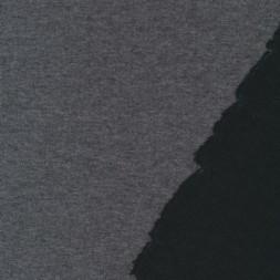 Dobbel jersey/strik uld/bomuld koksgrå meleret/sort-20