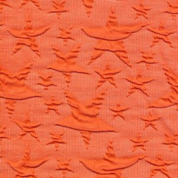 Rest Jacquard strik jersey stjerner, orange 100 cm.-20