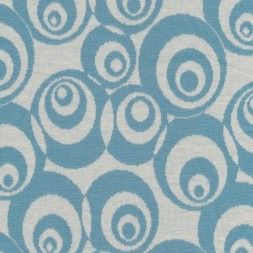 Rest Jacquard strik m/cirkler off-white/støvet lyseblå, 75 cm.-20