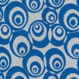 Afklip Jacquard strik m/cirkler off-white/klar blå 75 cm.-20