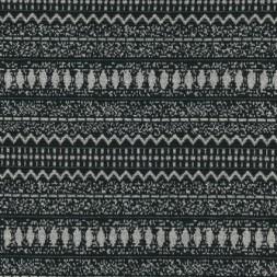 Rest Jacquard strik/jersey m/Inka striber sort/lysegrå, 90 cm.-20
