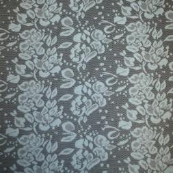 Rest Jacquard strik m/blomster sort/lys turkis-blå 75 cm.-20