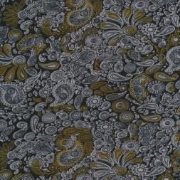 Viskose strik-jersey med sjalsmønster/Paisley i sort grå okker-20