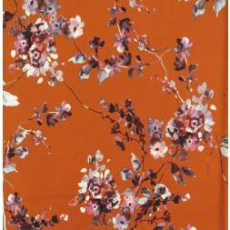 Crepé scuba i brændt orange med blomster-20