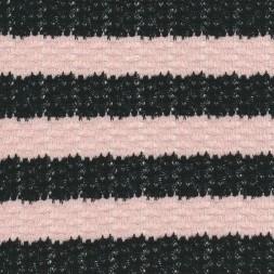 Rest let strik i bomuld stribet sort lys lyserød 75 cm-20