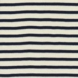 Ribstrikket 100% uld stribet offwhite og mørkeblå-20
