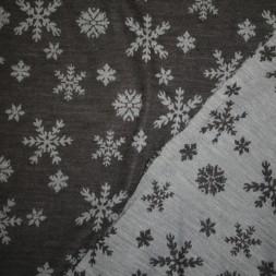 Ribstrikket jacquard uld 2-sidet med snekrystaller i mørkegrå og lysegrå-20