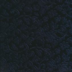 Velour med præget blad ranker, marine-20
