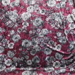 Spantex Velour med blomster i lys blomme og grå-20