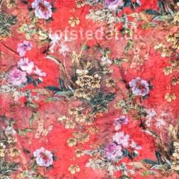 Spantex Velour med blomster i rød gul flaskegrøn-20