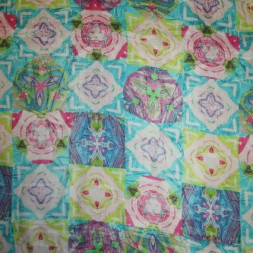 100% viscose m/mønster/firkanter turkis/pink/lime-20