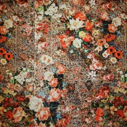 Rest 100% viscose m/blomster orange/sort/gul, 39 cm.-20
