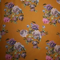 100% viscose med digitalt blomster-print mørk ægge-blomme-20
