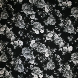 Rest 100% viscose med digitalt blomster-print sort hvid, 49-55 cm-20