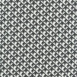 100% viskose knækket hvid med sort firkant mønster-20